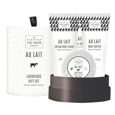 Scottish Fine Soaps Dárková sada Au Lait Sprchový gel 75 ml + tělové máslo 75 ml + krém na ruce 75 ml + mýdlo 50 g