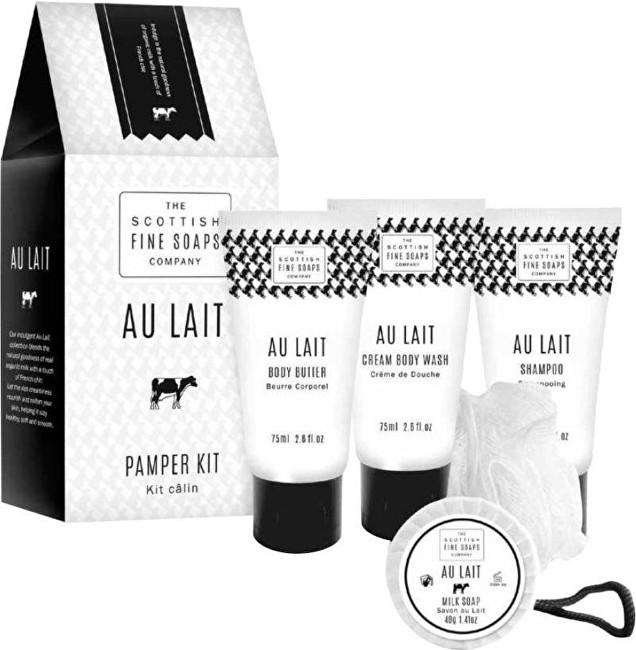 Scottish Fine Soaps Dárková sada Au Lait Tělové máslo 75 ml + sprchový gel 75 ml + šampon 75 ml + mýdlo 40 g
