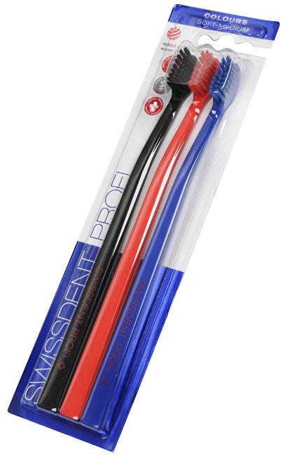 Swissdent Zubní kartáček Colours Soft-Medium 2 + 1 ZDARMA (černá + červená + modrá)