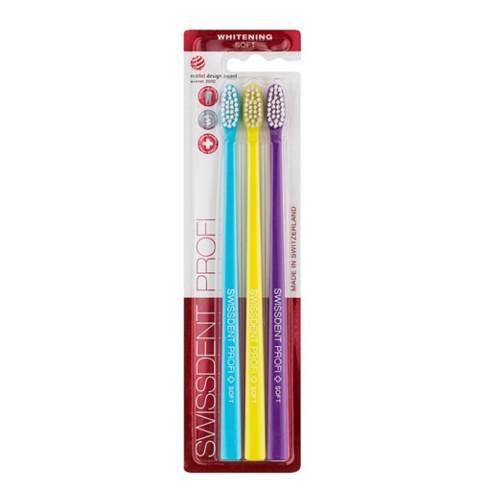 Swissdent Zubní kartáček Whitening Trio Soft 2 + 1 ZDARMA (modrý + žlutý + fialový)