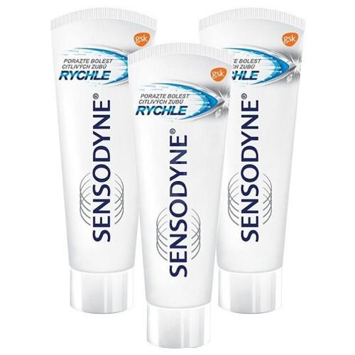 Sensodyne Zubní pasta pro citlivé zuby Rapid 3 x 75 ml
