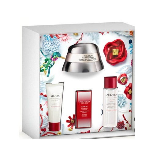 Shiseido Bio-Performance Advanced Super Revitalizing denní pleťová péče 50 ml   sérum Ultimune 5 ml   čisticí pěna Clarifying 15 ml   pleťová voda Treatment Softener 30 ml darčeková sada