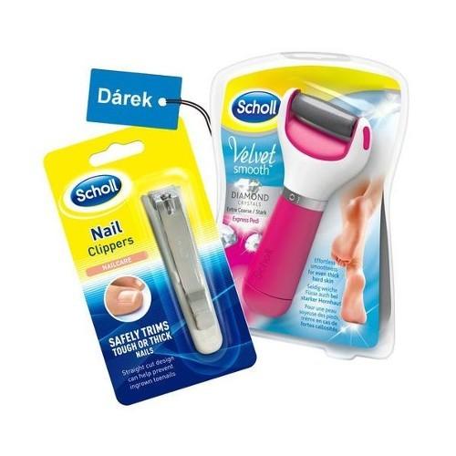 Scholl Darčeková sada Elektrický pilník na chodidlá Velvet Smooth Diamond Pink + klip na nechty