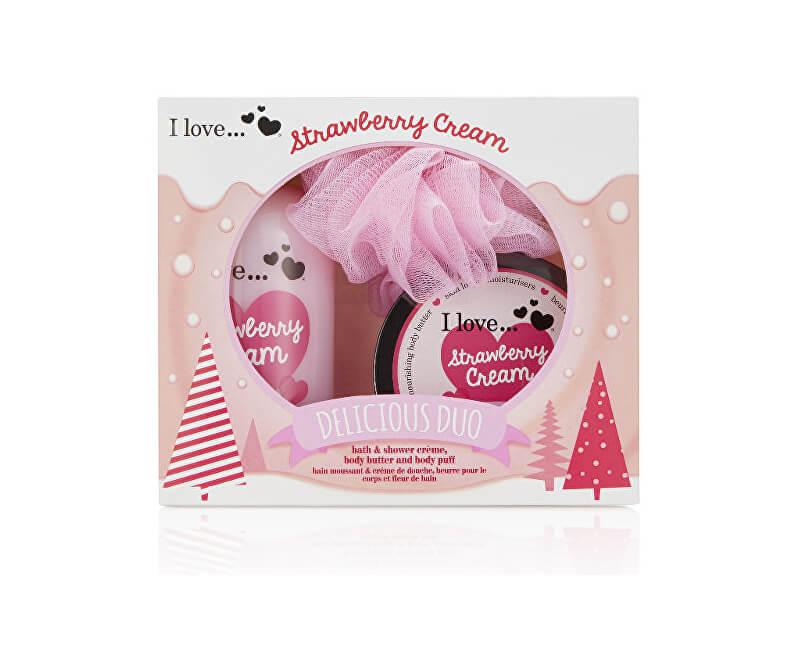 I Love Dárková sada s vůní jahod a sladkého krému Strawberry Cream (Delicious Duo) - SLEVA - poškozený obal