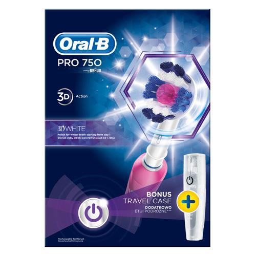 Oral B Elektrický zubní kartáček Pro 750 3D White + Cestovní pouzdro - SLEVA - roztržená krabice