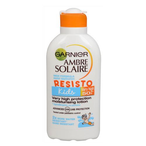 Garnier Opalovací mléko pro děti Ambre Solaire Resisto Kids SPF 50+ (Very High Protection Moisturising Lotion) 200 ml - SLEVA - poškozené víčko