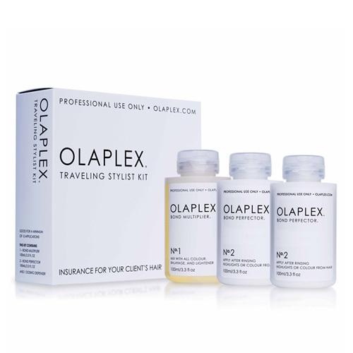 Olaplex Sada pre farbené alebo chemicky ošetrené vlasy (Traveling Stylist Kit) 3 x 100 ml - ZĽAVA - čiastočne vytečené a poškodená krabička