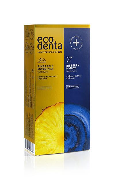 Ecodenta Sada zubních past Pineapple mornings & Bilberry Nights 2 x 100 ml - SLEVA - poškozená krabička