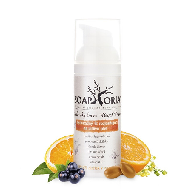 Soaphoria Hydratační a rozjasňující krém na normální až citlivou pleť (Royal Cream) 50 ml