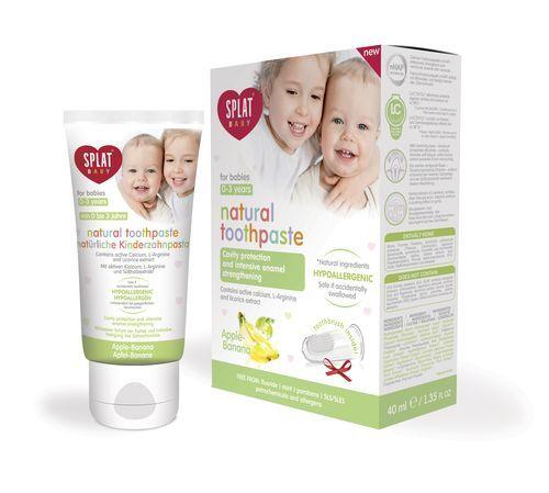 SPLAT Zubná pasta pre deti jablko banán Baby + prstový kefka 40 ml