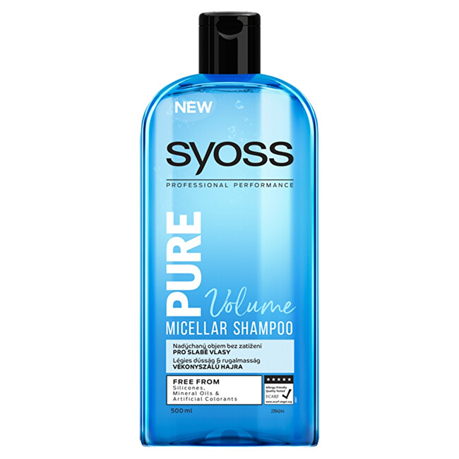 Syoss Micelární šampon pro slabé vlasy Pure Volume (Micellar Shampoo) 500 ml