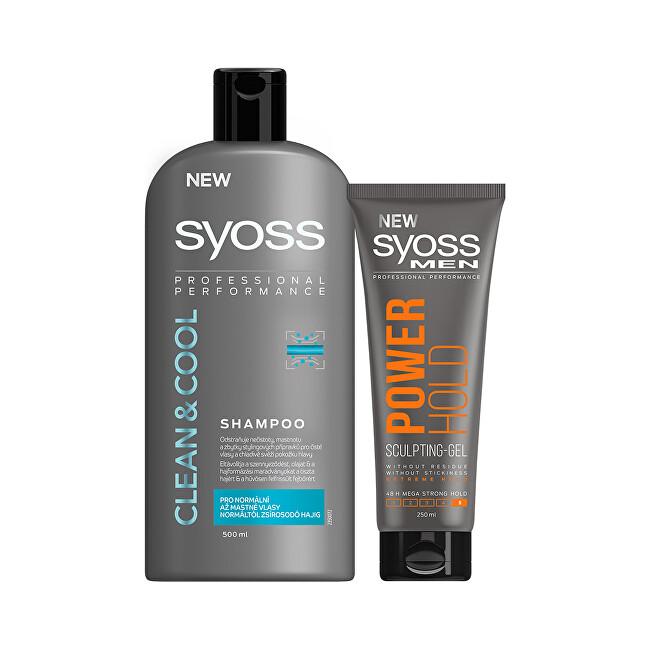 Syoss Zvýhodněné balení Gel na vlasy Power Hold 5 250 ml + Šampon pro muže Clean & Cool 500 ml + DÁREK Šampon Clean & Cool 500 ml