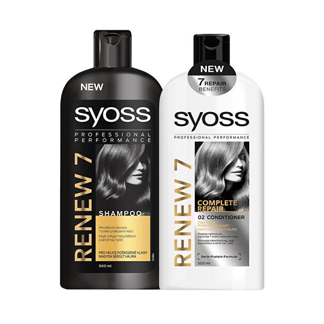 Syoss Zvýhodněné balení Šampon pro velice poškozené vlasy Renew 7 500 ml + Balzám pro velmi poškozené vlasy Renew 7 500 ml + DÁREK Šampon Renew 7 500 ml