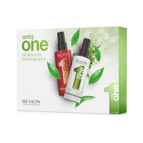 Uniq One Unikátní vlasová kúra 10 v 1 150 ml + Bezoplachová péče ve spreji se zeleným čajem Green Tea 150 ml dárková sada