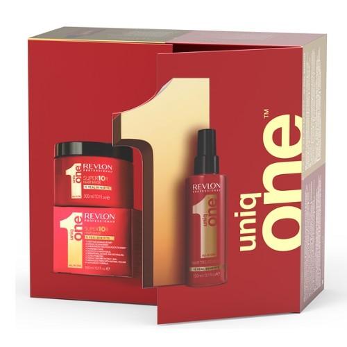 Uniq One regeneračný sprej na vlasy 150 ml + regeneračná maska na vlasy 300 ml darčeková sada