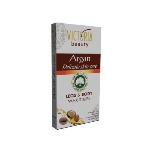 Victoria Beauty Depilační voskové pásky s arganovým olejem na nohy a tělo (Legs & Body Wax Strips) 20 ks