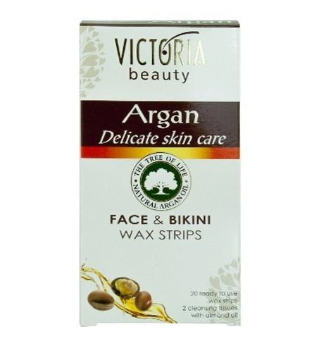 Victoria Beauty Depilačné voskové pásiky s arganovým olejom na tvár a oblasť bikín (Face & Bikini Wax Strips) 20 ks