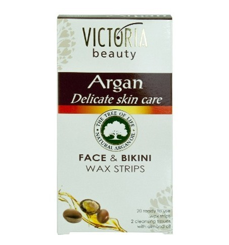 Victoria Beauty Depilační voskové pásky s arganovým olejem na obličej a oblast bikin (Face & Bikini Wax Strips) 20 ks