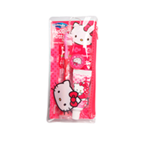 VitalCare Hello Kitty zubní pasta + zubní kartáček + dentální párátka + praktická taštička cestovní sada
