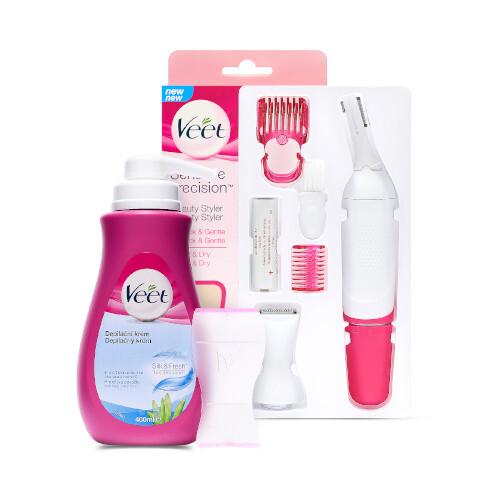 Veet Sensitive Precision elektrický zastřihovač + Silk & Fresh depilační krém pro citlivou pokožku 100 ml dárková sada