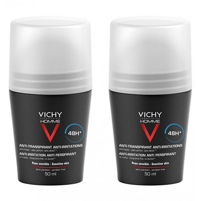 Vichy Deodorant pre citlivú pokožku Homme 48H Deo roll-on (Anti-Transpirant Extra Sensitiv e ) 2 x 50 ml