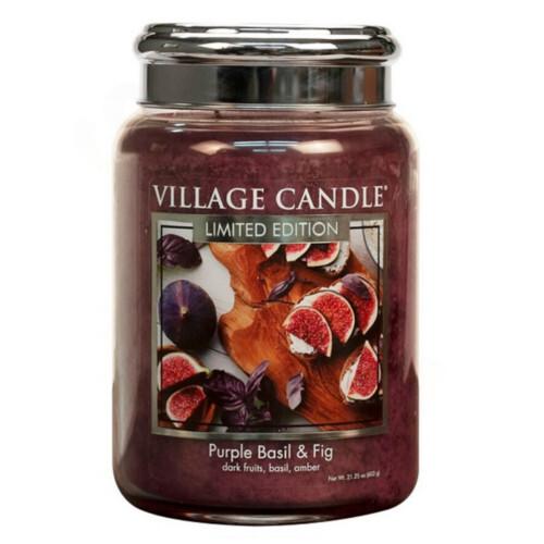 Village Candle Vonná svíčka ve skle Fialová bazalka a fík (Purple Basil & Fig) 602 g