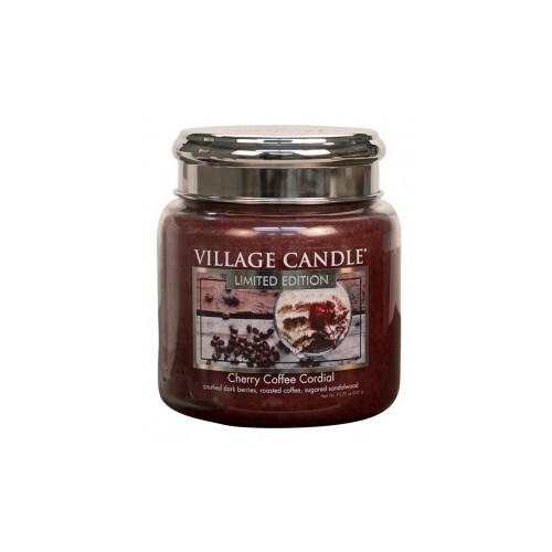 Village Candle Vonná svíčka ve skle Třešňovo kávový Likér (Cherry Coffee Cordial) 390 g