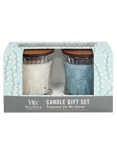 WoodWick Sada sviečok v skle White Tea & Jasmine a Sea Salt & Cotton 2 x 136 g