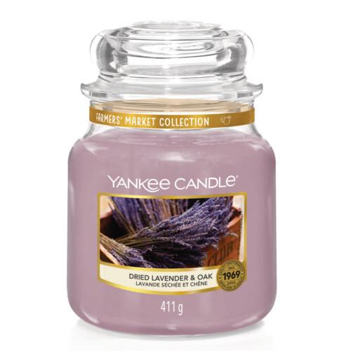 Yankee Candle Aromatická svíčka Classic střední Sušená levandule a dub (Dried Lavender & Oak) 411 g