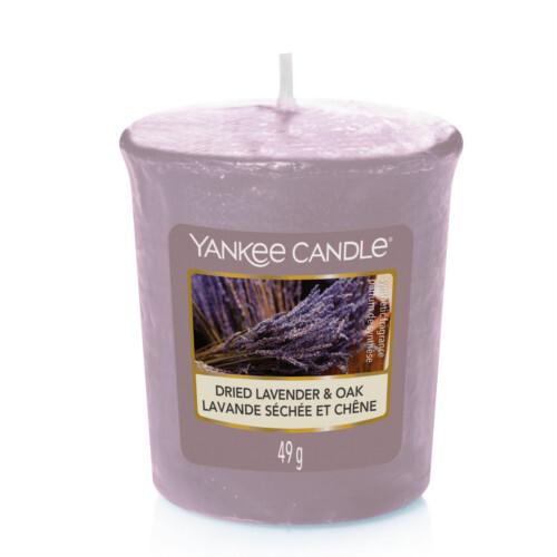 Yankee Candle Aromatická votivní svíčka Levandule a špetka koření (Dried Lavender & Oak) 49 g