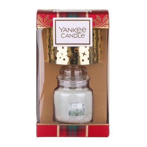 Yankee Candle Dárková sada svíčka White Fir classic malý 1 ks + malé stínítko (Christmas Gift Collection)