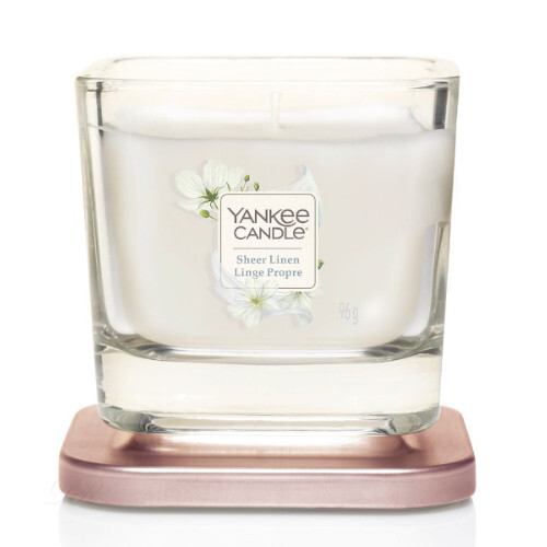 Yankee Candle Aromatická svíčka malá hranatá Sheer Linen 96 g