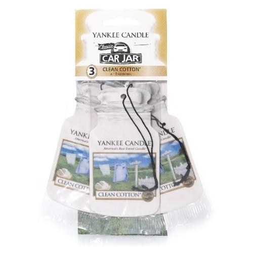 Yankee Candle Papírová visačka do auta Čistá bavlna (Clean Cotton) 3 ks