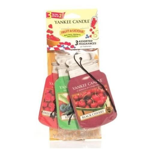 Yankee Candle Papírová visačka do auta Sweet Strawberry, Black Cherry, Kiwi Berries 3 ks