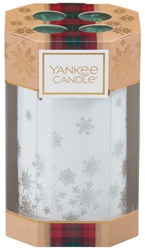 Yankee Candle Dárková sada keramický svícen + 4 ks čajových svíček (Alpine Christmas Gift Set) 4 x 9,8 g