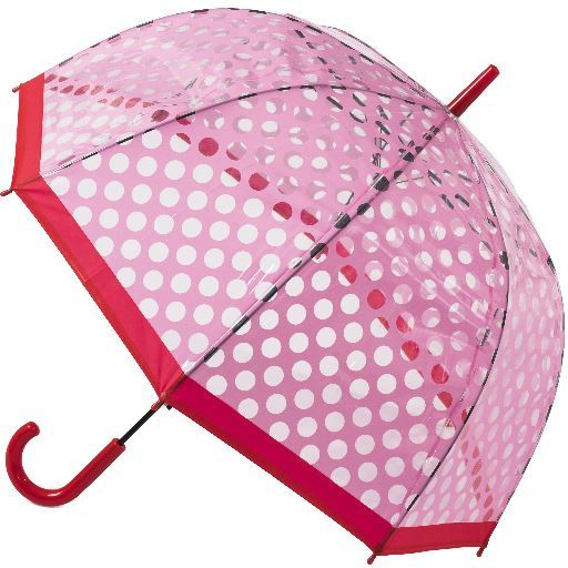 Blooming Brollies Dámsky dáždnik Clear Dome Stick Umbrella with Pink polka dots POESPR