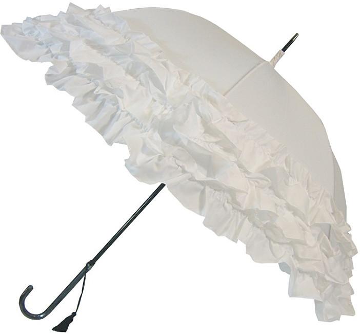 Blooming Brollies Dámský holový vystřelovací deštník White Triple Frill BCS3FWH