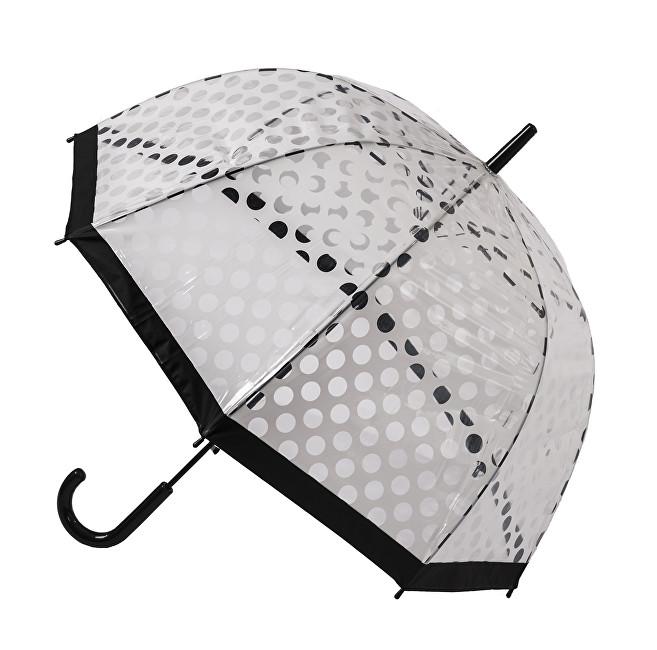 Blooming Brollies Dámský průhledný holový deštník Clear Dome Stick With White Polka Dots POESWB