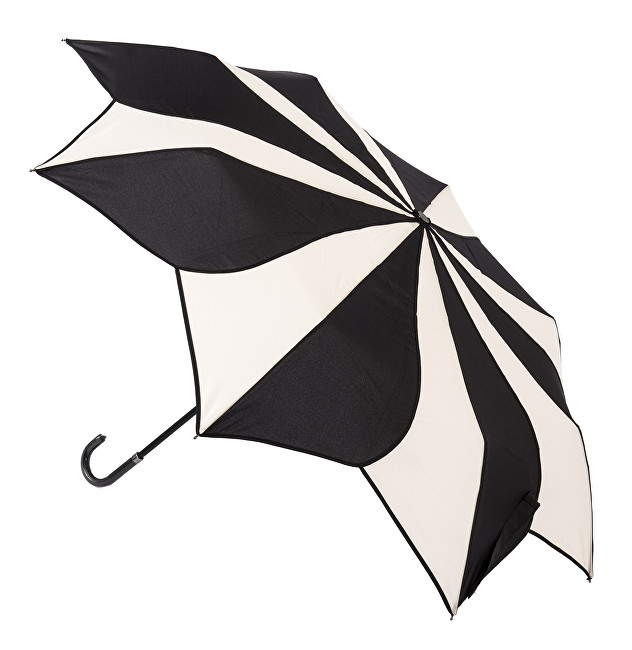 Blooming Brollies Dámský skládací deštník Black and Cream Swirl EDFSWBC