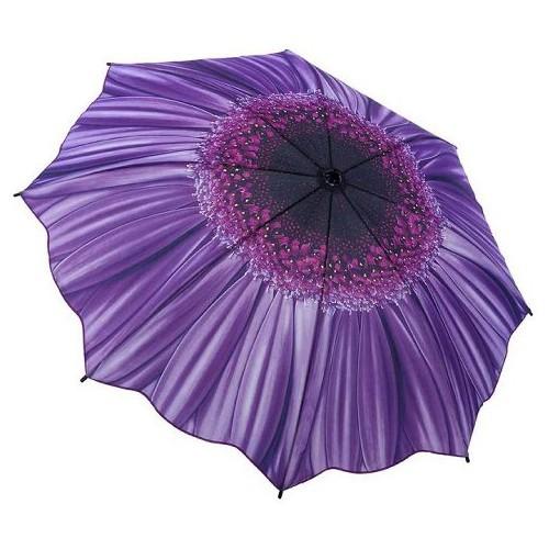 Blooming Brollies Dámský skládací plně automatický deštník Galleria Purple Daisy Floral GFFPD