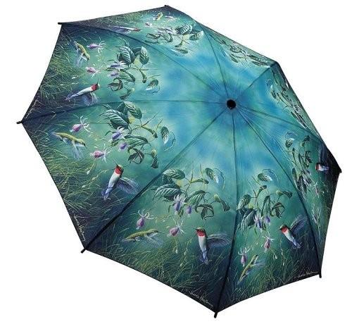 Blooming Brollies Dámský skládací plně automatický deštník Humming Birds GBFHB