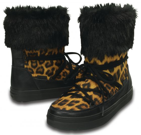 Crocs Dámske snehule LodgePoint Lace Boot Leopard/Black 37-38