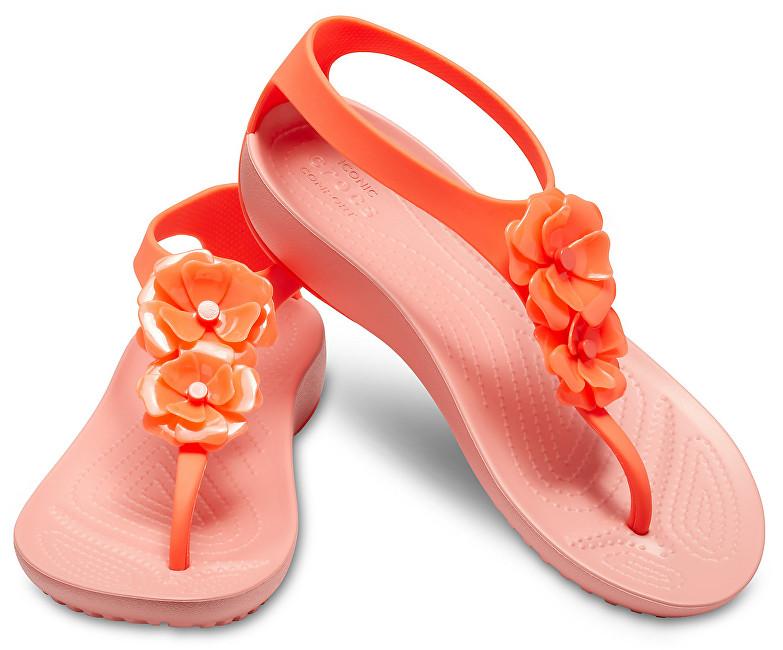 Crocs Sandale pentru femei Serena Embellish Îmbogăiți Flip W 205600-6PT Bright Coral / Pepenele 37-38