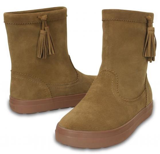 Crocs Dámske zimné topánky LodgePoint Suede Pullon Boot Hazelnut 37-38