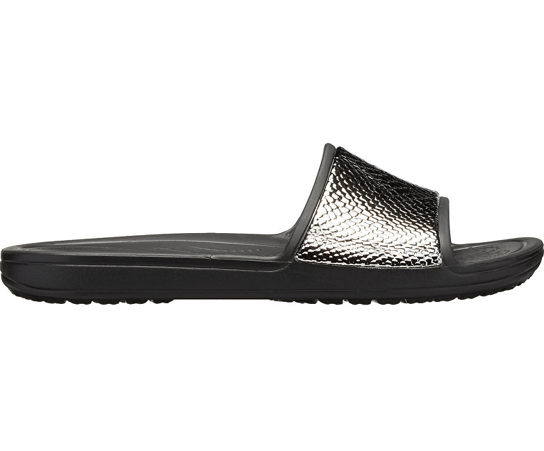 Crocs Pantofi Crocs Sloane MetalText Slide W Gunmetal/Black 205737-0FG 36-37