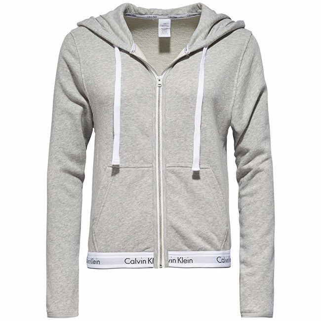 Calvin Klein Dámska mikina Modern Cotton Linen Extension Top Hoodie Full Zip QS5667E-020 Grey Heather S