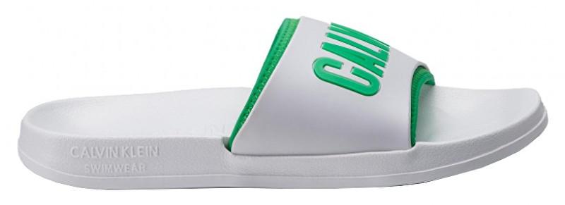 Calvin Klein Pánske šľapky Slide KM0KM00376-100 White 45-46