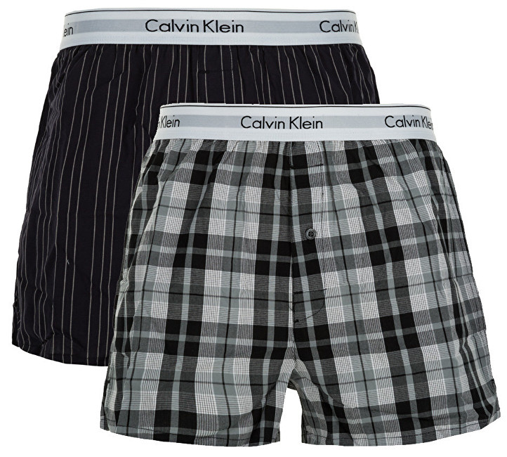 Calvin Klein Sada treniek Modern Cotton Stretch Slim Boxer 2P NB1396A-JKZ Ryan Stripe Deep Well-Hickory Plaid Black M
