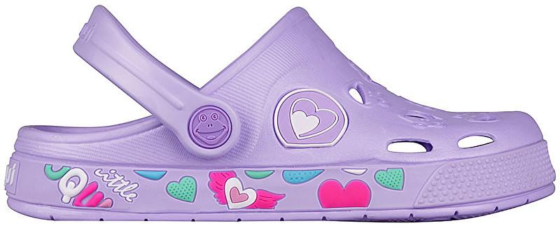 Coqui Detské papuče Froggy Lt. Lila Hearts 8802-402-0202 32-33