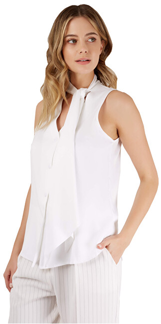Closet London SLEVA Dámská halenka Closet Sleeveless Pussy Bow Blouse White
